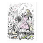Cards attacking Alice Postcard