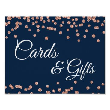 Wedding Themed Cards & Gifts Rose Gold Glitter Confetti Navy Blue Poster