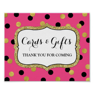 Cards Gifts Sign Pink Black Gold Confetti