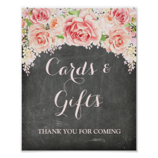 Cards Gifts Sign Pink Watercolor Floral Chalkboard