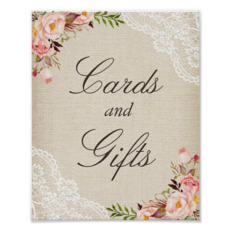 Cards & Gifts Sign - Rustic Burlap Lace Floral