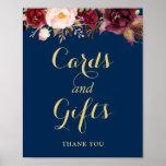Cards Gifts Wedding Sign Burgundy Floral Navy Blue