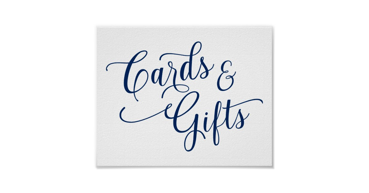 Cards Amp Gifts Wedding Sign Typography Navy Blue