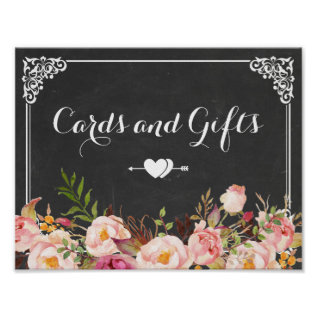 Cards & Gifts Wedding | Vintage Chalkboard Floral Poster at Zazzle