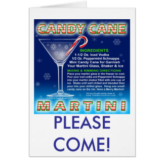 Cards - Holiday Invitations - Candy Cane Martini