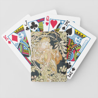 "Cards--""Lady With a Daisy"" by Alphonse Mucha Bicycle Playing Cards"