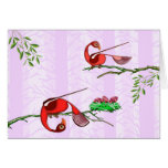 Cards of colorful red birds by tigudesign