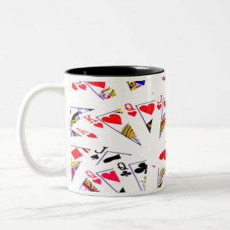 Cards Royal Flush With Hearts Two-Tone Coffee Mug