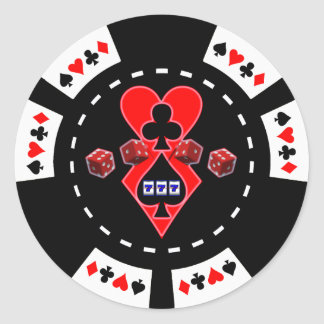 CARDS SLOTS AND DICE POKER CHIP CLASSIC ROUND STICKER