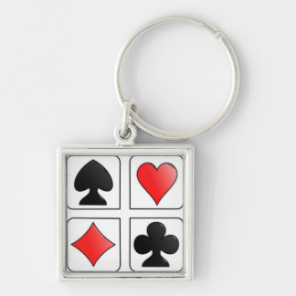 Cards Suits, Diamonds, Spades, Hearts, Clubs Keychain