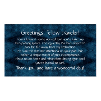 Cards to leave on others' windshields. Double-Sided standard business cards (Pack of 100)