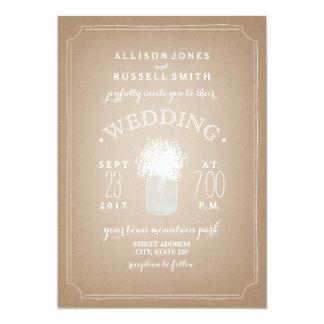 Cardstock Inspired Baby's Breath Mason Jar Wedding Card