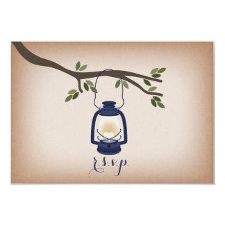 Cardstock Inspired Blue Camping Lantern RSVP Card
