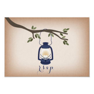Cardstock Inspired Blue Camping Lantern RSVP 3.5x5 Paper Invitation Card