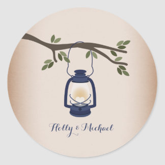Cardstock Inspired Blue Camping Lantern Classic Round Sticker