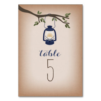 Cardstock Inspired Blue Camping Lantern Table Cards