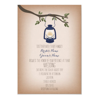 Cardstock Inspired Blue Camping Lantern Wedding 5x7 Paper Invitation Card