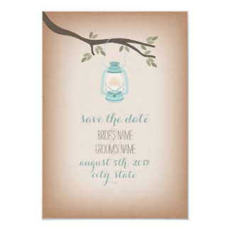 Cardstock Inspired Blue Lantern Save The Date 3.5x5 Paper Invitation Card