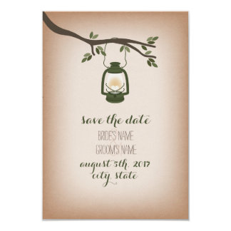 Cardstock Inspired Camping Lantern Save The Date 3.5x5 Paper Invitation Card