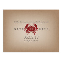 Cardstock Inspired Crab Wedding Save The Date Postcard