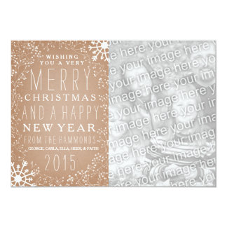 Cardstock Inspired Floral And Snow Photo Christmas Card