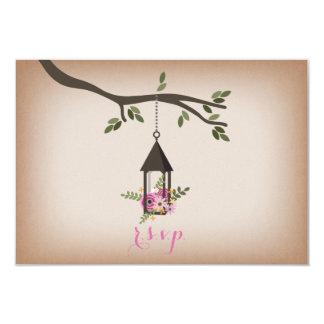Cardstock Inspired Floral Lantern Wedding R.S.V.P. Card