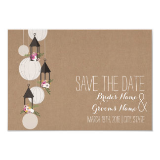 Cardstock Inspired Floral Lanterns Save The Date 3.5x5 Paper Invitation Card