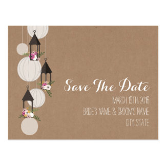 Cardstock Inspired Floral Lanterns Save The Date Postcard