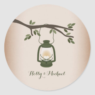 Cardstock Inspired Green Camping Lantern Classic Round Sticker