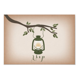 Cardstock Inspired Green Camping Lantern RSVP 3.5x5 Paper Invitation Card