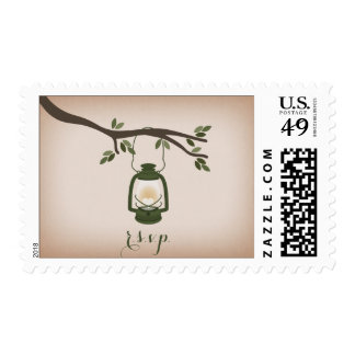 Cardstock Inspired Green Camping Lantern RSVP Postage Stamps
