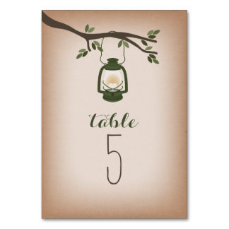 Cardstock Inspired Green Camping Lantern Table Card