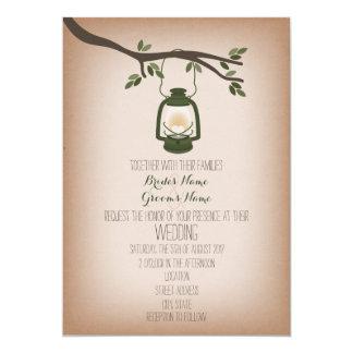 Cardstock Inspired Green Camping Lantern Wedding Card