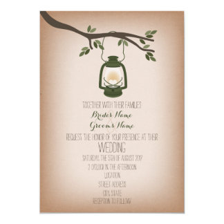 Cardstock Inspired Green Camping Lantern Wedding 5x7 Paper Invitation Card
