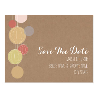 Cardstock Inspired Lanterns Wedding Save The Date Postcard
