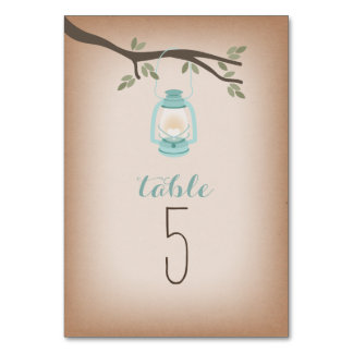 Cardstock Inspired Light Blue Camping Lantern Table Card