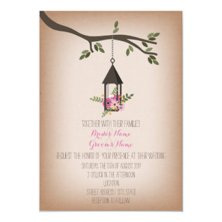 Cardstock Inspired Pink Floral Lantern Wedding 5x7 Paper Invitation Card