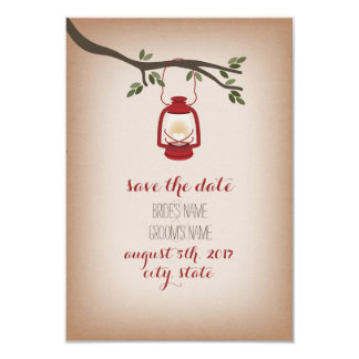 Cardstock Inspired Red Camp Lantern Save The Date Card