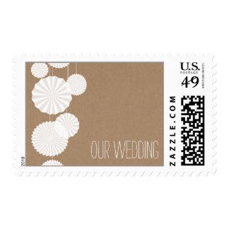 Cardstock Inspired Rosettes Wedding Postage Stamp
