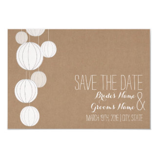Cardstock Inspired White Lanterns Save The Date Card