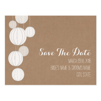 Cardstock Inspired White Lanterns Save The Date Postcard