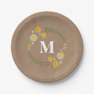 Cardstock Inspired Wildflower Wreath Monogram 7 Inch Paper Plate