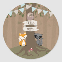 Cardstock Inspired Woodland Baby Shower Boy Classic Round Sticker