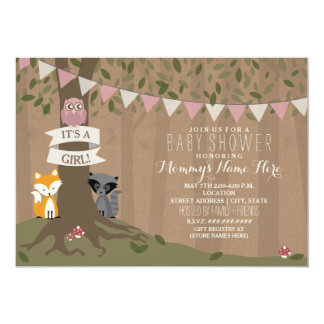 Cardstock Inspired Woodland Baby Shower - Girl Card