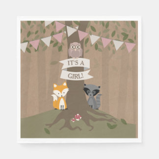 Cardstock Inspired Woodland Baby Shower - Girl Napkin