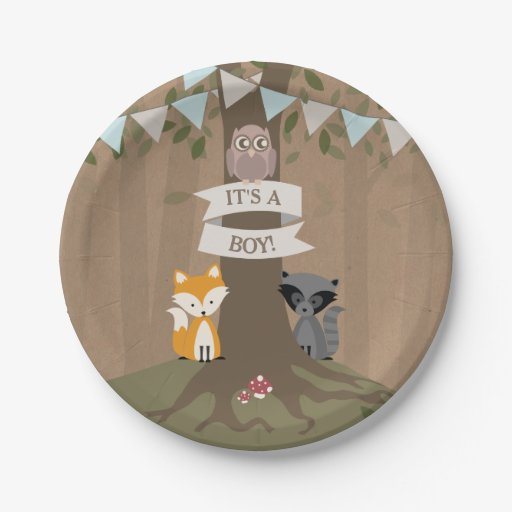 Cardstock Inspired Woodland Boy Baby Shower Paper Plate