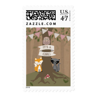 Cardstock Inspired Woodland Girl Baby Postage