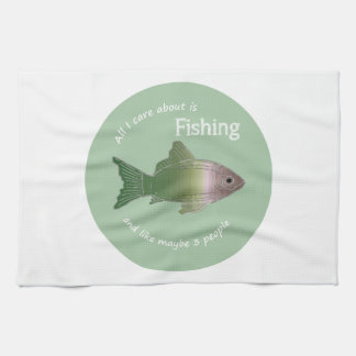 Care About Fishing Fun Fisherman Quote Hand Towel
