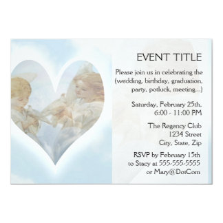 Care and Concern Cherubs with Doves in the clouds. 4.5x6.25 Paper Invitation Card