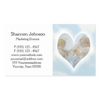 Care and Concern Cherubs with Doves in the clouds. Business Card